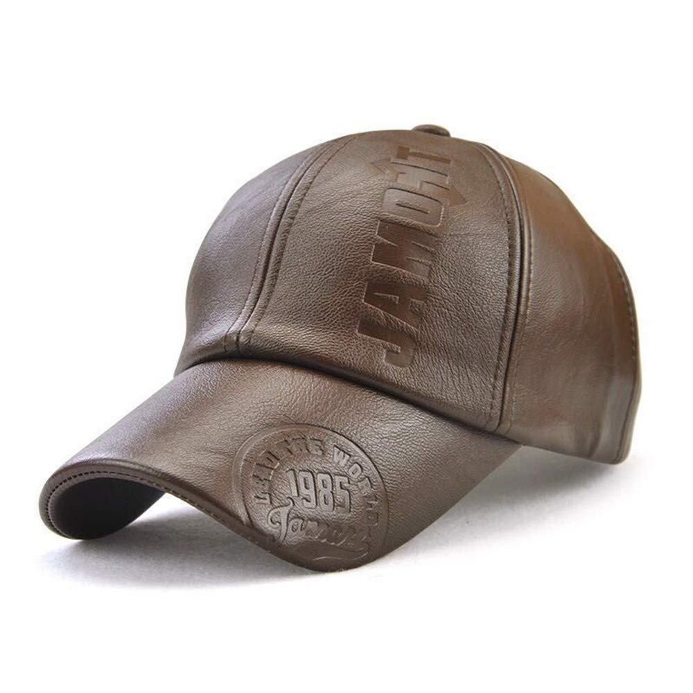 Baseball Cap Mens Leather Hat Adjustable Outdoor Cap NO-36