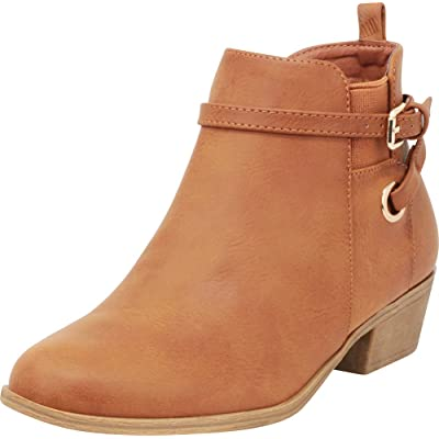 Cambridge Select Women's Chelsea Strappy Wraparound Stretch Low Block Heel Ankle Bootie: Shoes