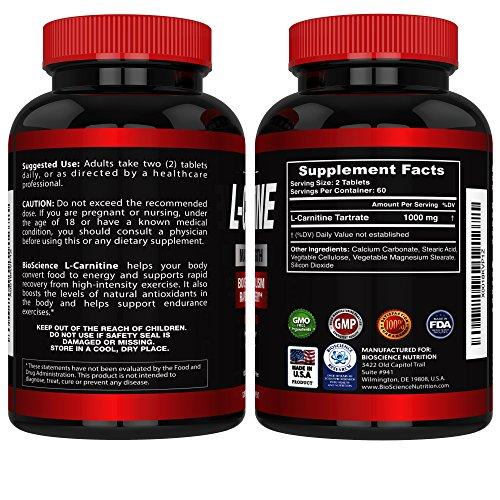 L Carnitine 1000mg Servings 120 Tablets – Carnitine Amino Acid BioScience Nutrition USA