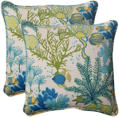 Pillow Perfect Outdoor Indoor Splish Splash Marina Throw Pillows, 18.5 x 18.5 , Multicolored, 2 Pack