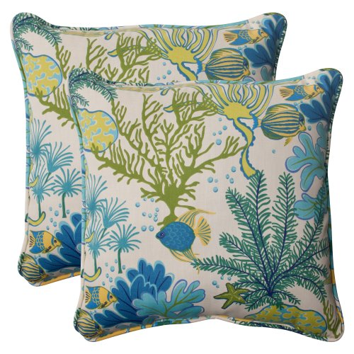 Pillow Perfect Outdoor Splish Splash Corded Throw Pillow, 18.5-Inch, Blue, Set of 2