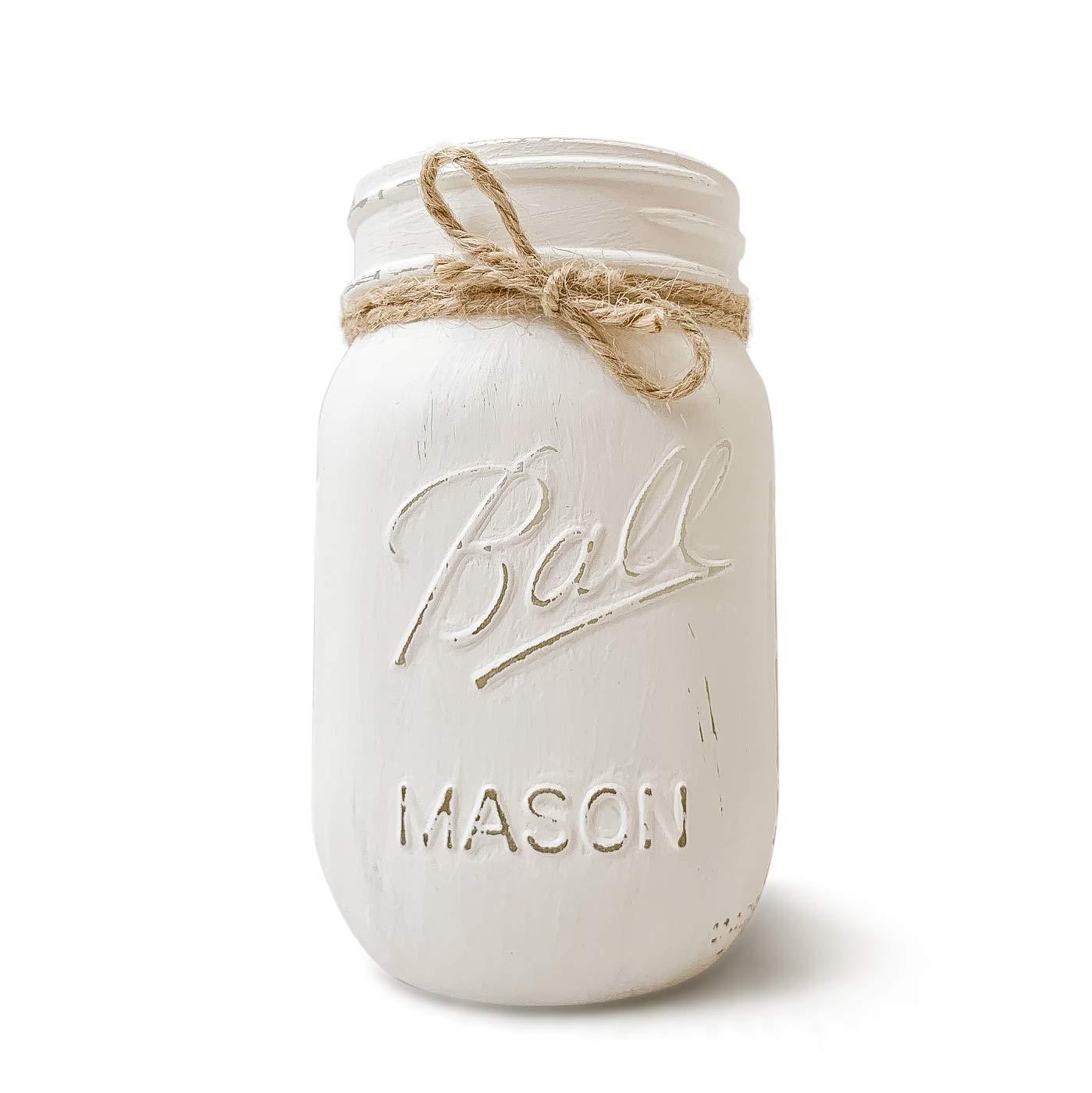 Linen White Farmhouse Hand Painted Distressed Quart Sized Mason Jar
