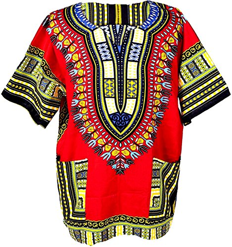 Traditional African Dashiki Cotton Mens Shirt, Tribal Hippie Style Boubou Variety Bright Colors, Unisex