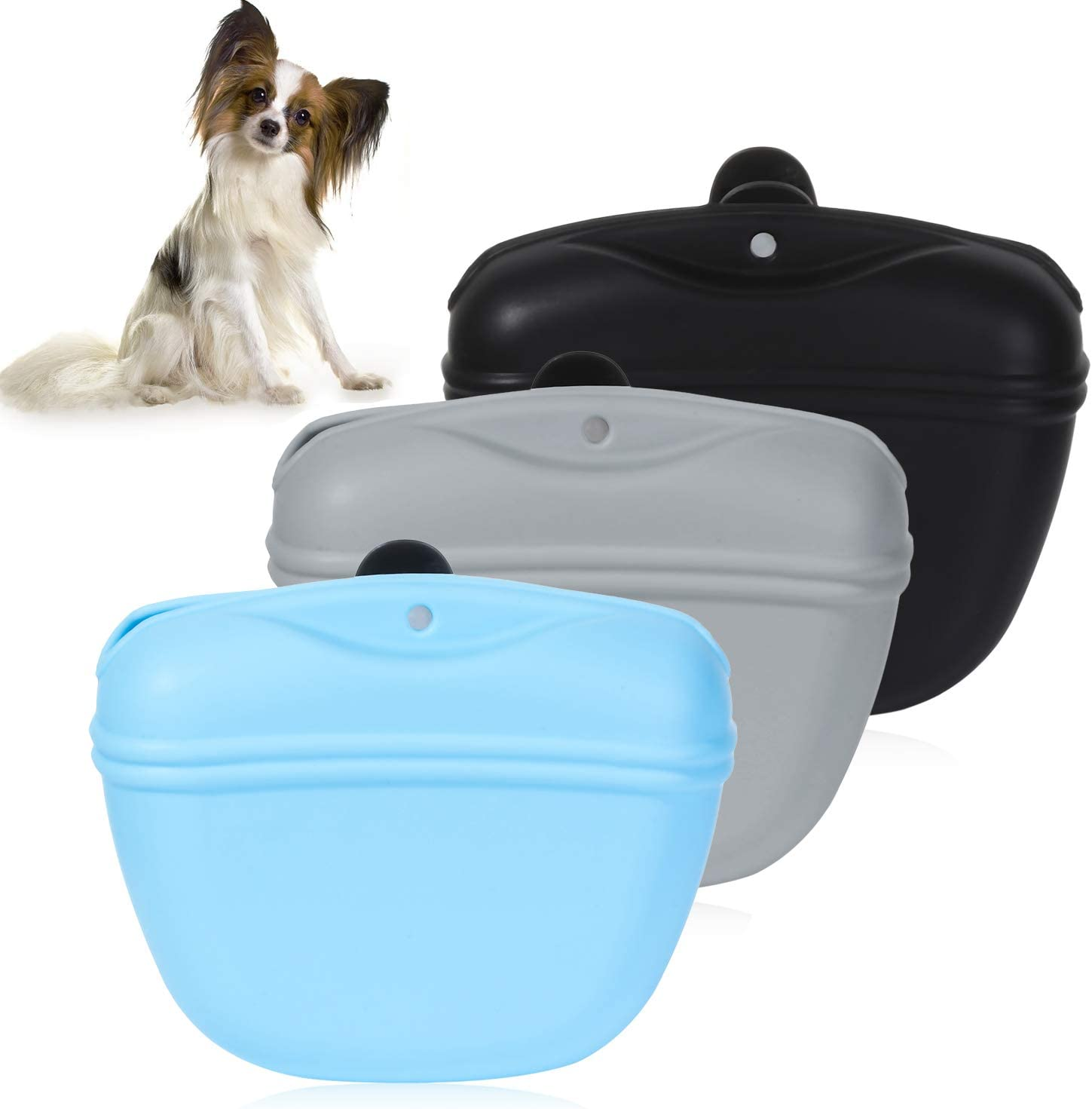 skonhed 3Pcs Silicone Dog Treat Pouch Training Pet Puppy Bag Pocket Snack Treat Food Holder with Clip for Belt for Dog Walk