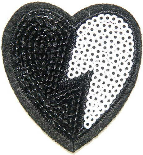Black White Heart Valentine's Day Sparkly Sequin Shine Shiny Blink Patch Sew Iron on Embroidered Applique Craft Handmade Kid Girl Women Sexy Lady Cloths Jacket T shirt DIY Decorative Costume - White Black Pradas And