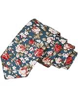 Floral Tie Men's Cotton Printed Flower Neck Tie Skinny Neckties