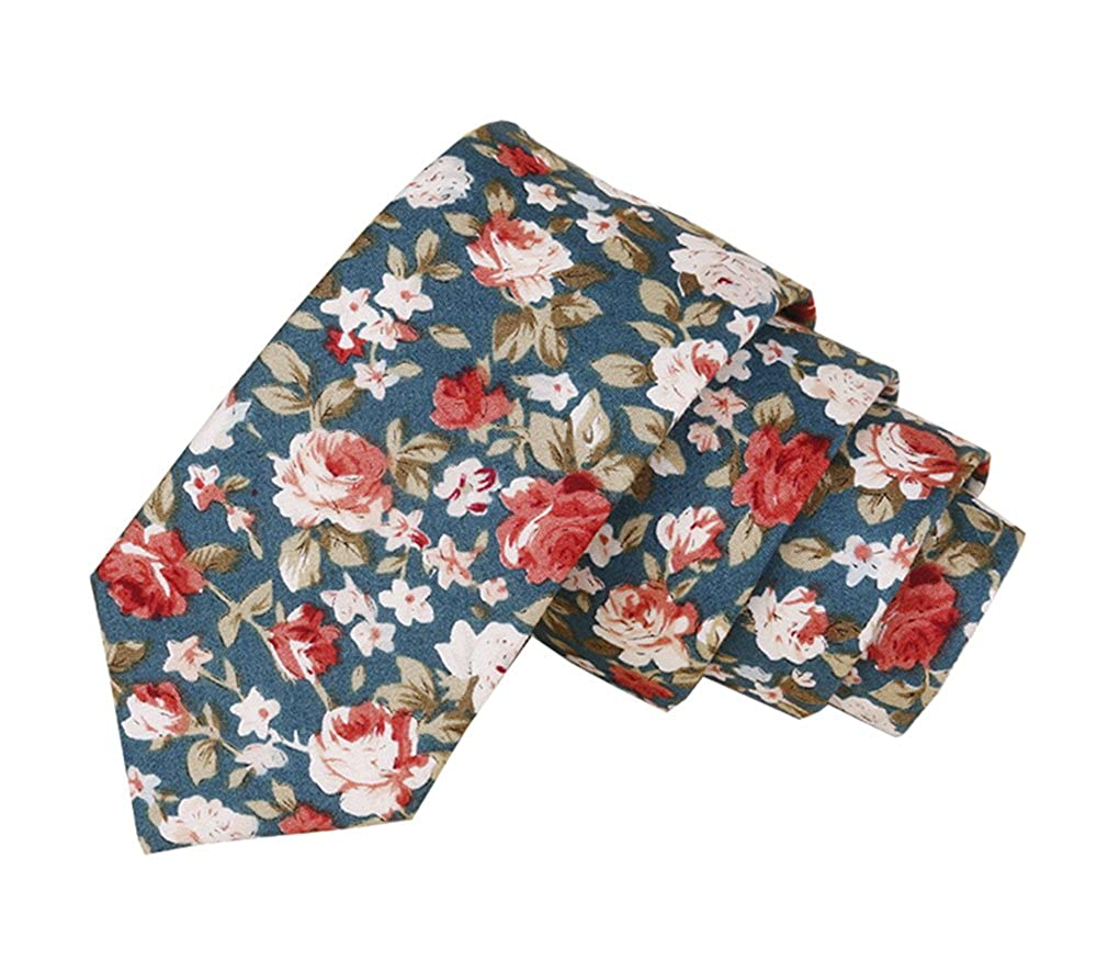 Floral Tie Men's Cotton Printed Flower Neck Tie Skinny Neckties May Lucky
