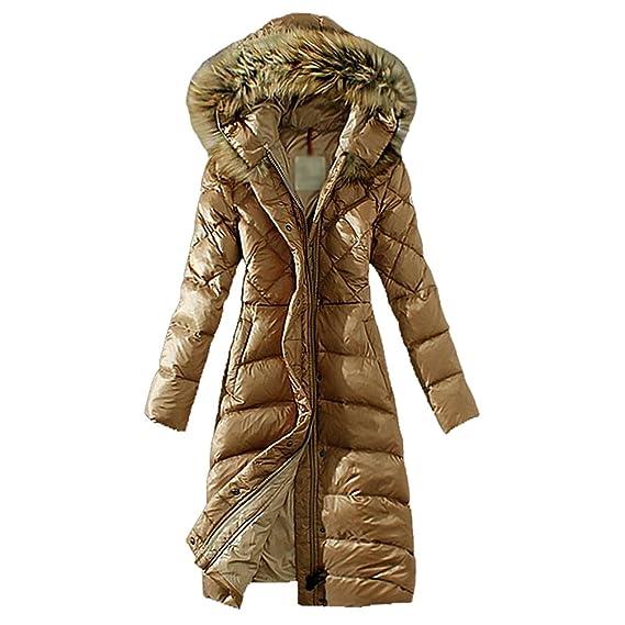 LvRao Damen Lang Daunenmantel Warme Winterjacke mit Fellkapuze Daunen Wintermantel Steppmantel Parka
