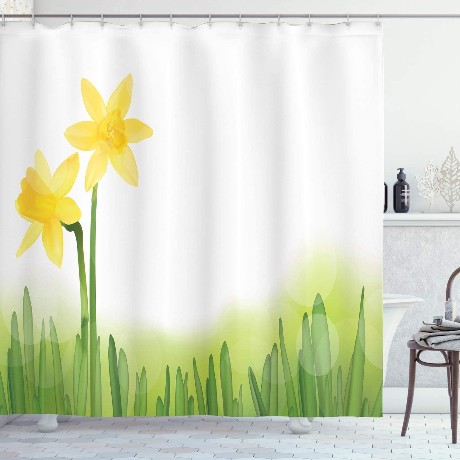"Ambesonne Daffodil Shower Curtain, Daffodil Flower in Grass Field Meadows Freshening Uniform Colored Illustration, Cloth Fabric Bathroom Decor Set with Hooks, 70"" Long, Green Yellow"