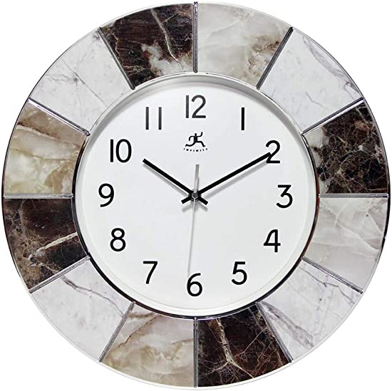 Modern Marble Decorative Office Clock 16 inch Easy to Read Faux Marble Frame Quartz Movement Business Clock Home Office