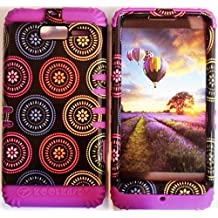 Cellphone Trendz (TM) Hybrid Rocker High Impact Bumper Case Colorful Circular Aztec Tribal / Purple Silicone for Motorola Droid Razr M (XT907, 4G LTE, Verizon)