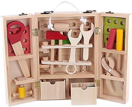 TOYANDONA Caja de Herramientas de Madera Juguete de Reparación Regalo para Niños: Amazon.es: Juguetes y juegos