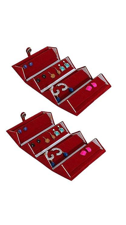 ADDYZ Set of 2 Velvet Earring Studs Nose Pin Folding Jewelry Box