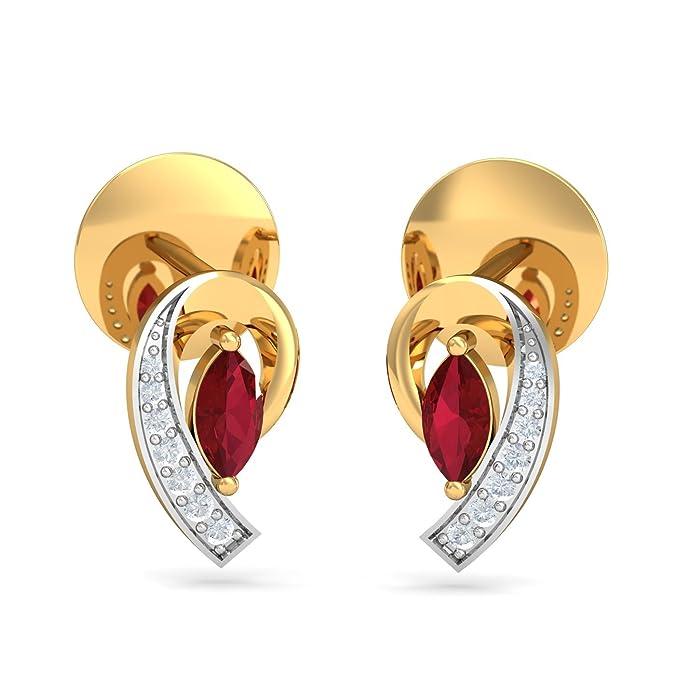 Kuberbox Yellow Gold, Diamond and Antonia Ruby Stud Earrings Women