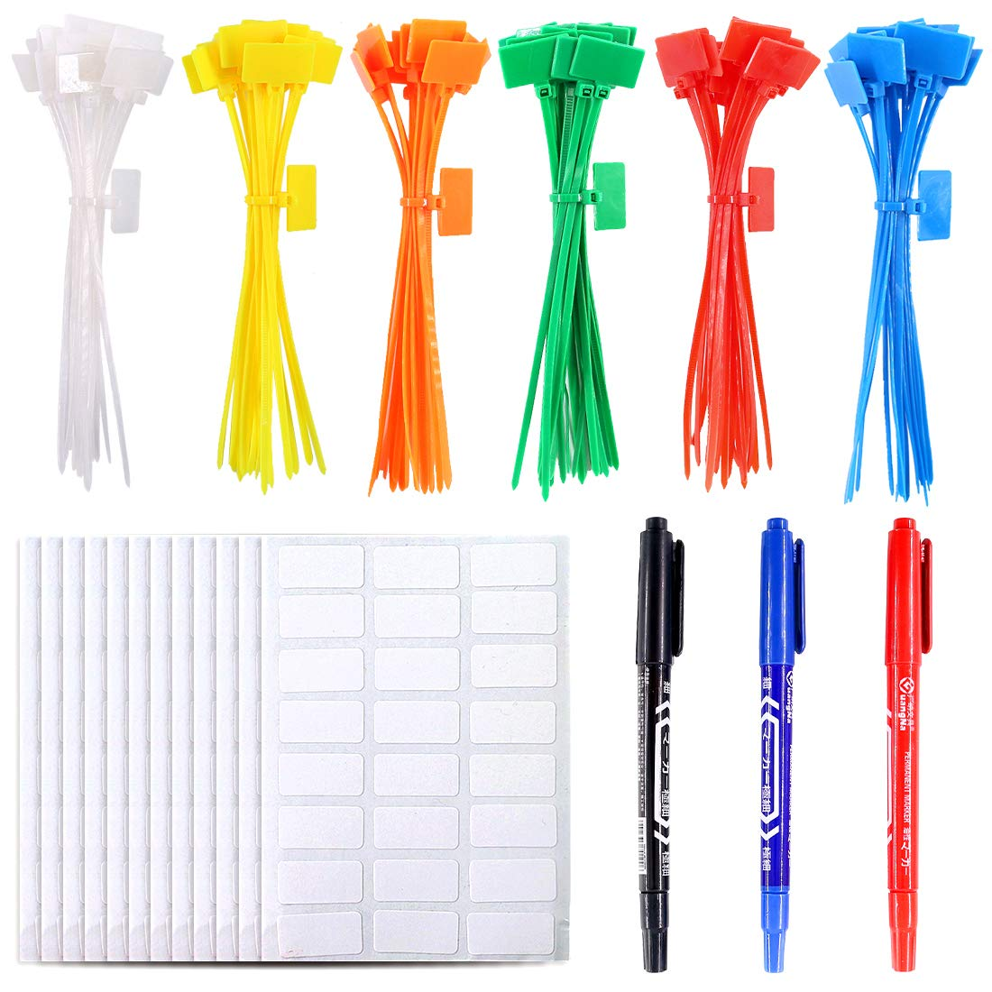 Glarks 150-Pieces 6 Colors 6 Inch Nylon Cable Marker Ties Self-locking Cord Tags Write on Ethernet Label Wire Straps with 3 Marker Pens and 288pcs White Cable Labels for Home and Office Use