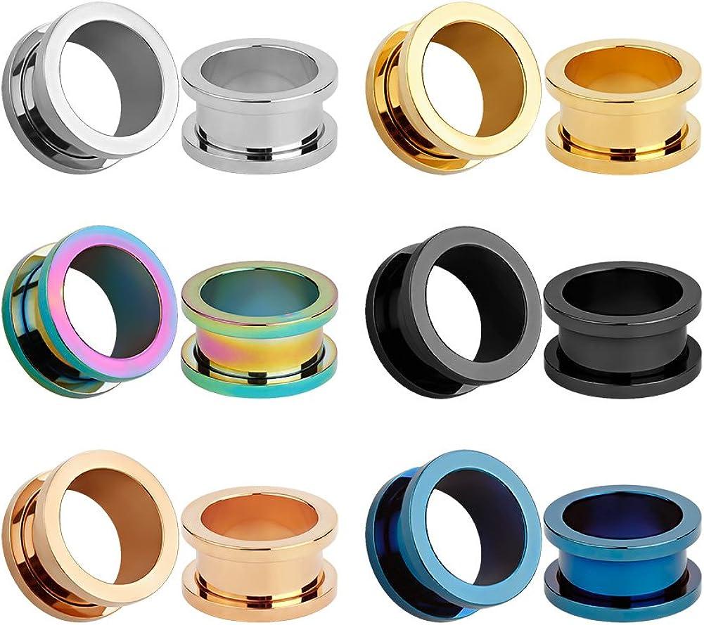 KUBOOZ 12pcs Set Colorful Stainless Steel Screwed Ear Plugs Tunnels Gauges Stretcher Piercings