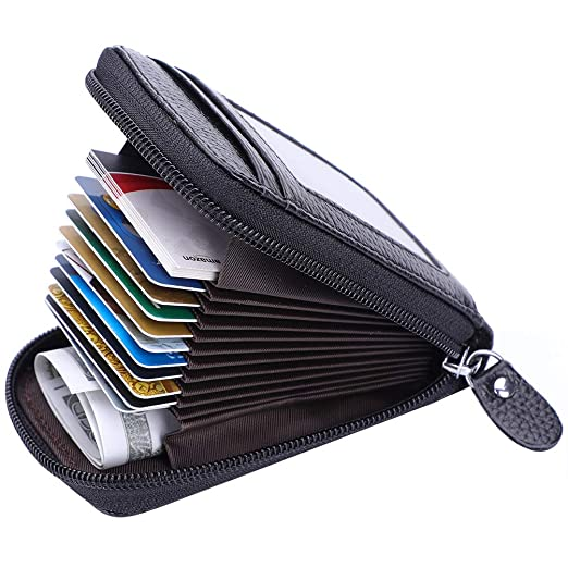 5ff2cc33c24c Leather Credit Card Holder Credit Card Wallet with Zipper Genuine Leather  Credit Card Protector RFID Women Ladies Wallets