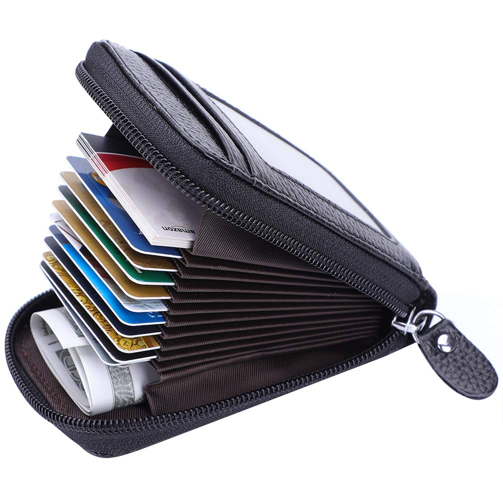 MaxGear Credit Card Wallet with Zipper Genuine Leather RFID Credit Card Holder for Women Ladies Wallets