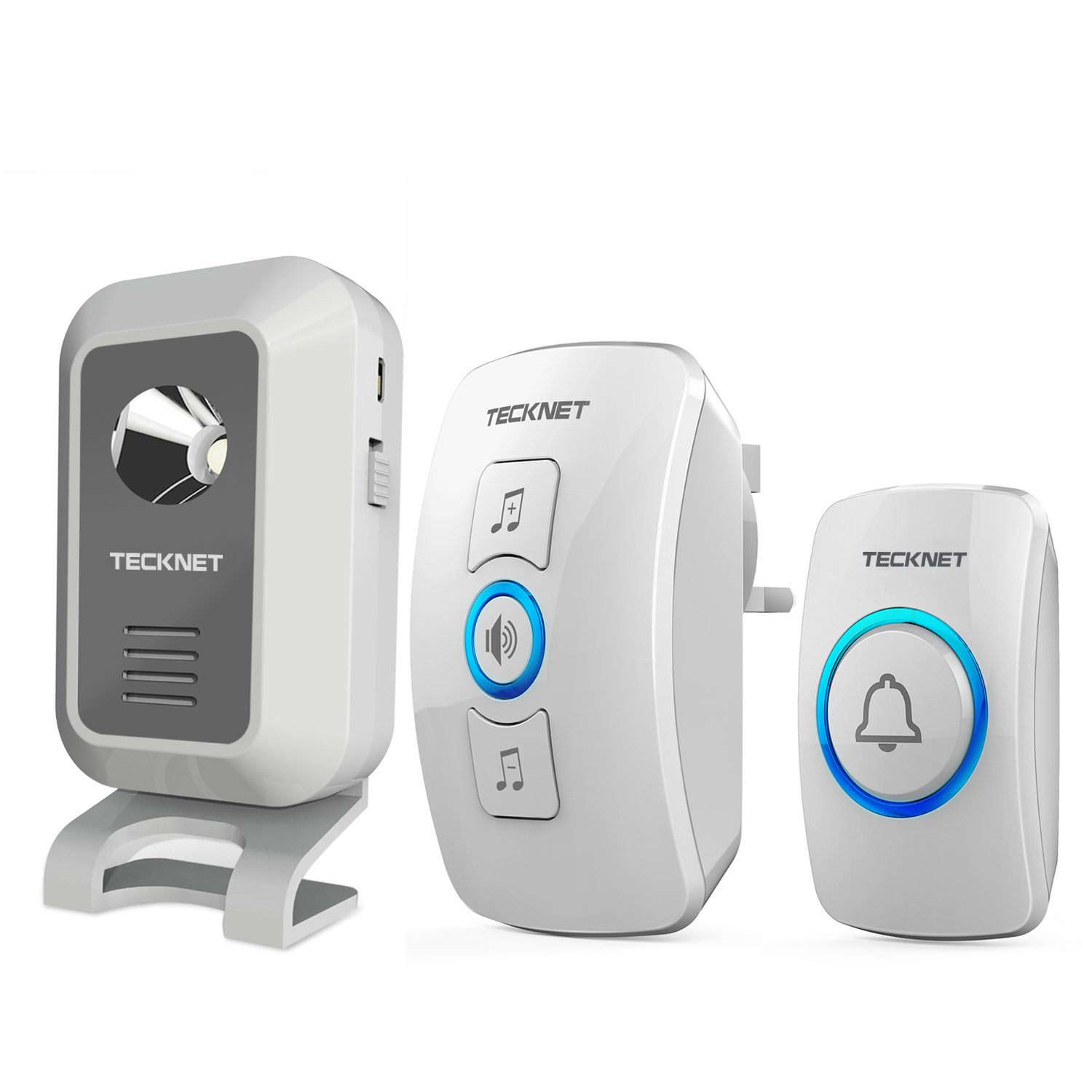 Twin Wireless Doorbell Tecknet Cordless Door Chime With 1 Battery Electrical Wiring In The Home Deaf Doorbells Operated Receiver Wall Plug At 500 Feet Range Diy Tools