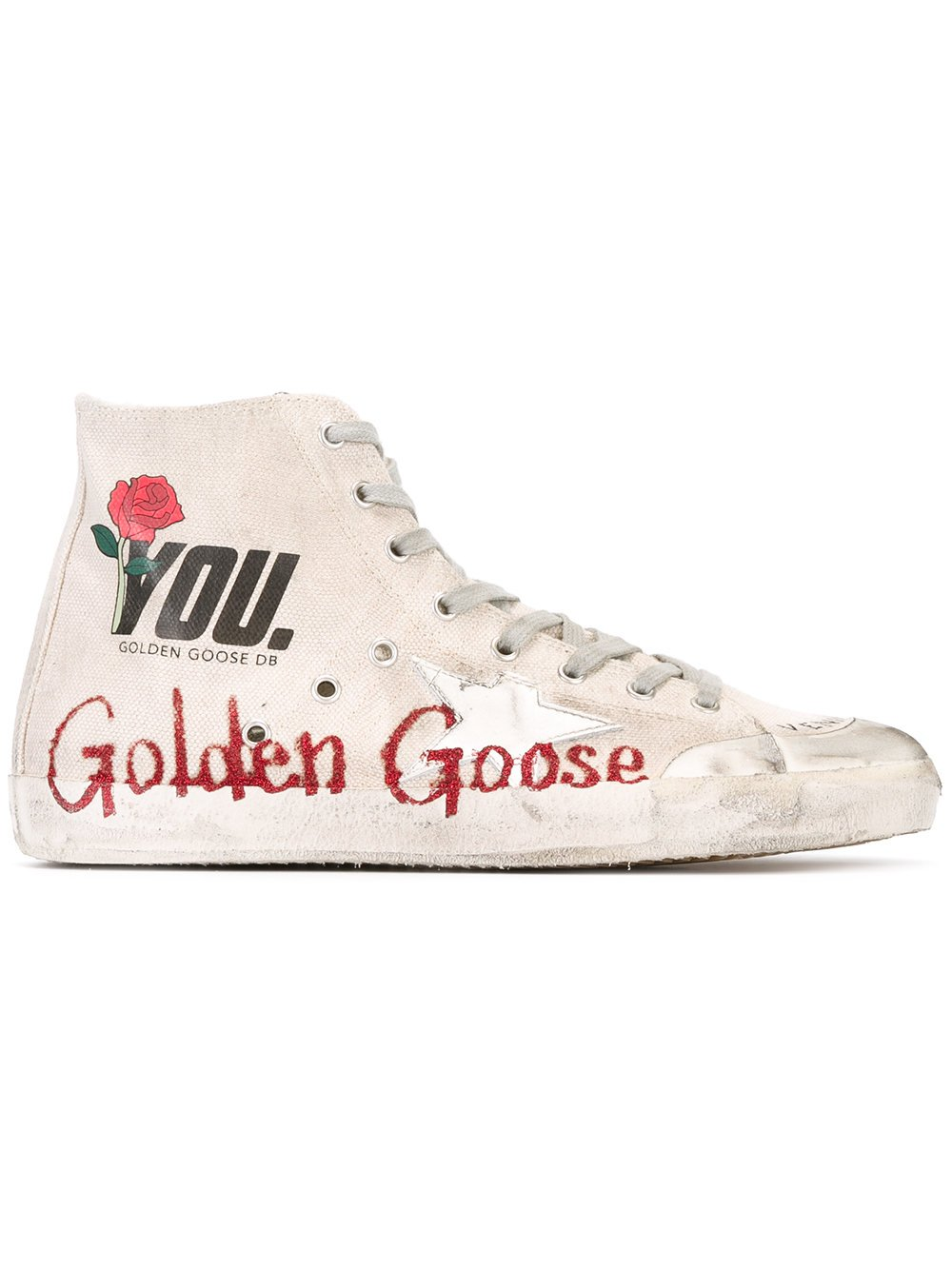 Golden Goose Deluxe Brand Men Francy Nude Pink Cotton High Top Sneakers G30MS591A57 (whoosso)