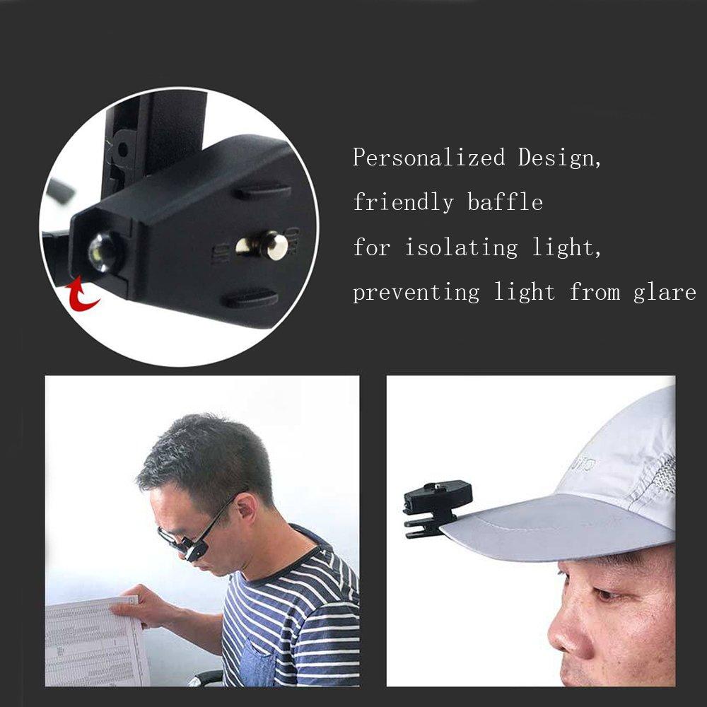 Angeln zum Anklipsen Joggen NUZAMAS Set von 4 Scheinwerfer-Kappen leicht Wandern Hut automatisches Arbeiten Lesen Licht 360 Grad drehbar f/ür Camping Brille