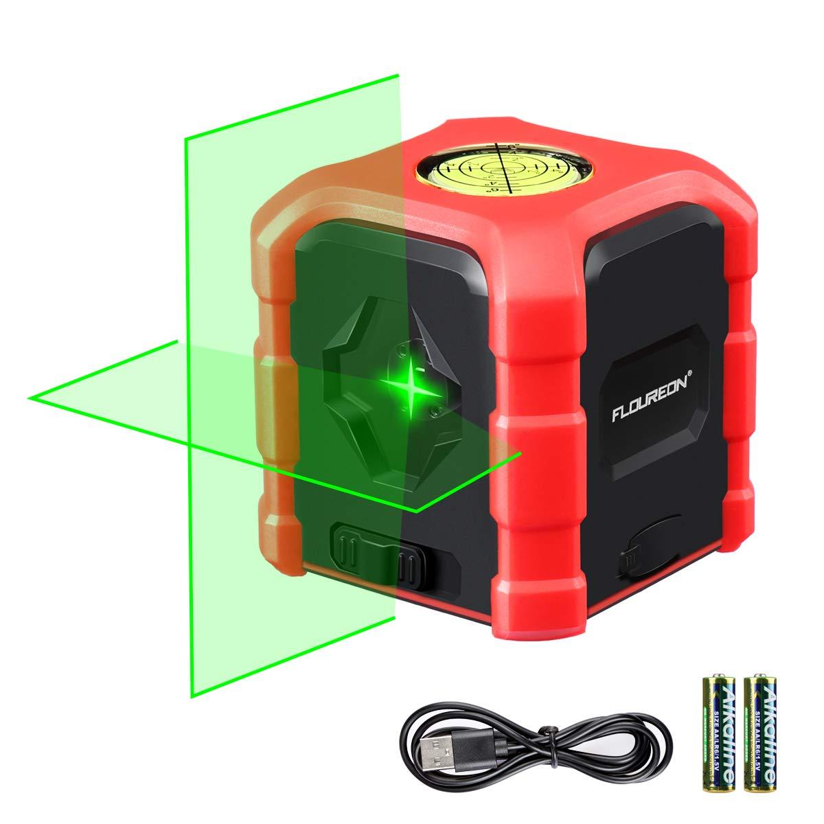 FLOUREON Laser Level Self-Leveling Horizontal and Vertical Cross-Line Laser, Tripod Mount Base, IP54 Waterproof, Dustproof, Shockproof, Dual Ways to Charge(batterries included) ...