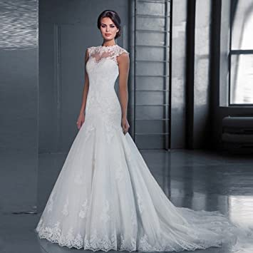 AN Boda de cuello alto de encaje cola delgada cola vestido de novia de gran tamaño