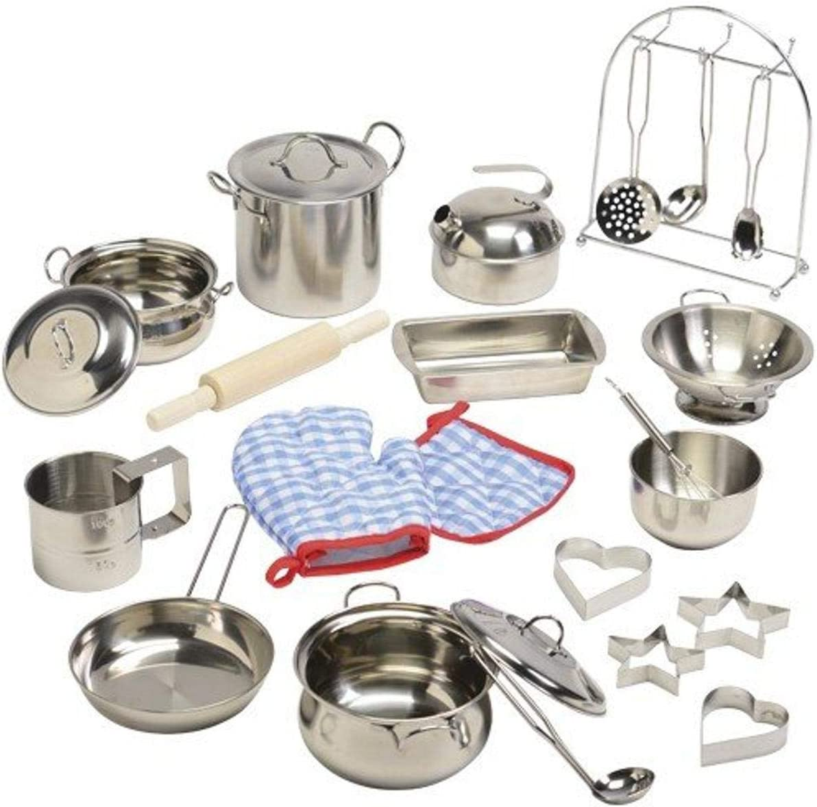 Constructive Playthings Kid-Sized Stainless Steel Cookware for Pretend Play, Ages 4-8