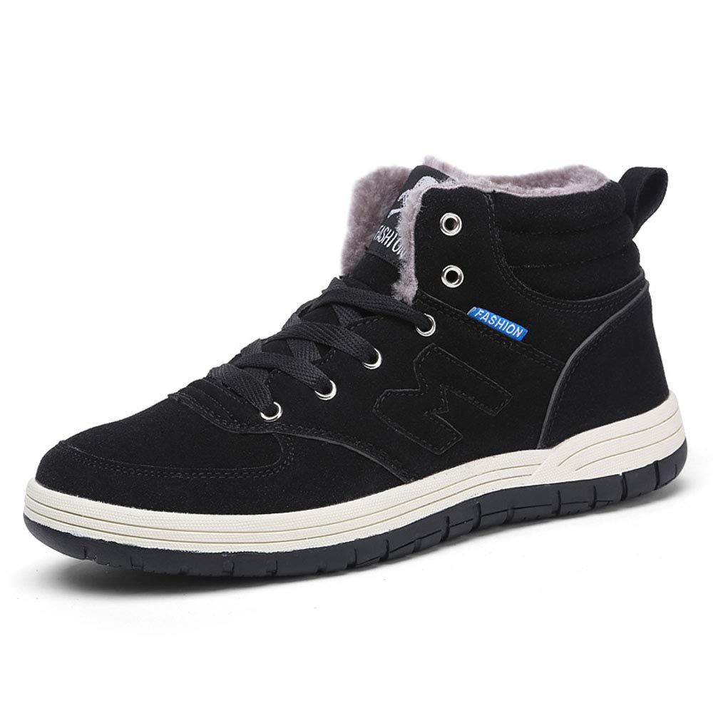 6ae97b3960146 BOMRVII Men s Casual Winter Fur Lining Warm Snow Boots Skate Shoes High Top  Sneakers