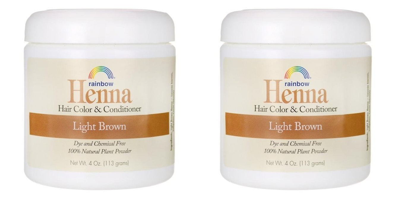 Rainbow Research Henna Light Brown Hair Color and Conditioner (Pack of 2) With Indigofera, 4 oz. each. by Rainbow Research