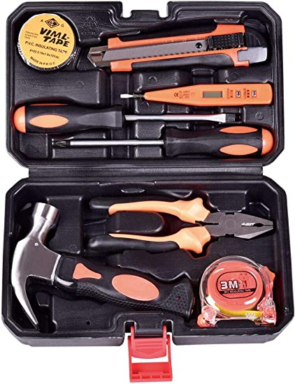 8 Pieces General Household Small Hand Tool Kit with Plastic Tool box Storage Case DOWELL Small Homeowner Tool Set