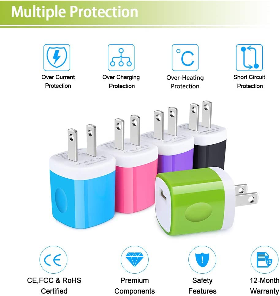 USB Wall Charger Charger Power Adapter Cube Compatible Phone Xs//XS Max//X//8//7//6 Plus Moto Galaxy S9//S8//S8 Plus Kindle LG CableLovers 1A//5V 3-Pack Travel USB Plug Charging Block Brick