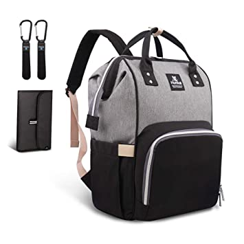 e198250b Hafmall Changing Bag Backpack Waterproof Travel Baby Bag, Stylish Large  Capacity Nappy Backpack with Changing Mat and Stroller Straps (Black+Gray):  ...