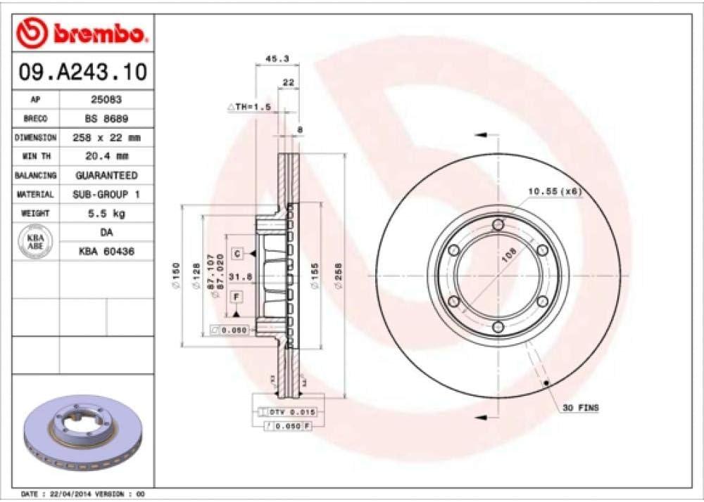BREMBO 09.A243.10 dischi freno anteriore