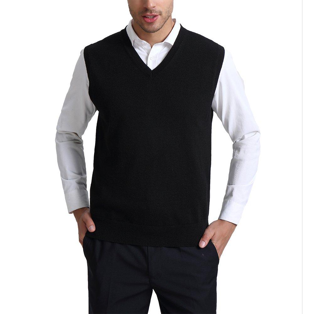 Kallspin Men's Relax Fit V-Neck Vest Knit Sweater Cashmere Wool Blend, Black, XX-Large