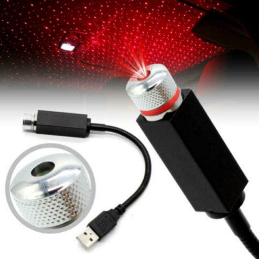 AMZYY USB Auto Atmosph/äre Lampe Innenraum Ambient Star Light LED Projektor Sternenhimmel Rot