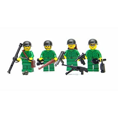 Battle Brick US Army WW2 Soldiers Complete Squad (S43) Custom Minifigures: Toys & Games