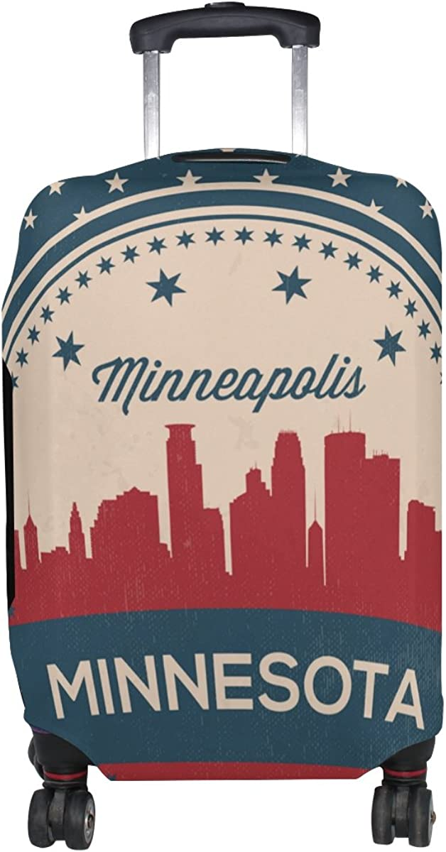 Vintage American Flag Minnesota State Minneapolis Skyline Luggage Cover Travel Suitcase Protector Fits 18-21 Inch Luggage