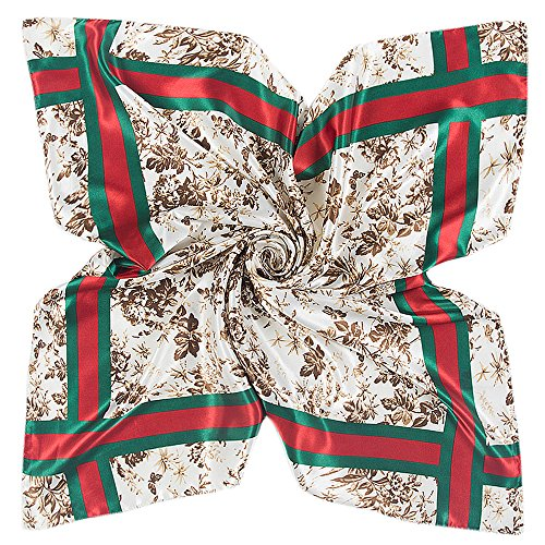 YOUR SMILE Polyester Scarf Women's Fashion Pattern Large Square Satin Headscarf Headdress 35''x35'' (Style 501) ()