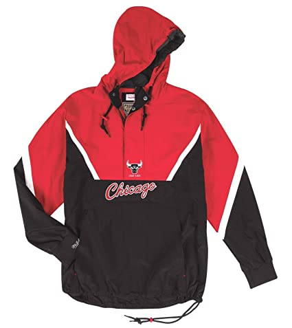 660954641 Image Unavailable. Image not available for. Color  Mitchell   Ness Chicago  Bulls NBA Men s Anorak 1 2 Zip Pullover Jacket
