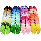 YALUN 40 Colors 3 inches Lovely Hair Bows Clips, Boutique Grosgrain Ribbon Bows Hair Alligator Clips Hair Barrettes Hair Accessories with Gift Bag (40pcs different colors)