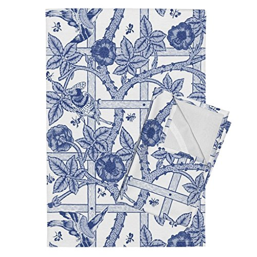 (Roostery William Morris Birds Floral Trellis Willow Ware Blue and White Toile Tea Towels The William Morris Collection by Peacoquettedesigns Set of 2 Linen Cotton Tea)