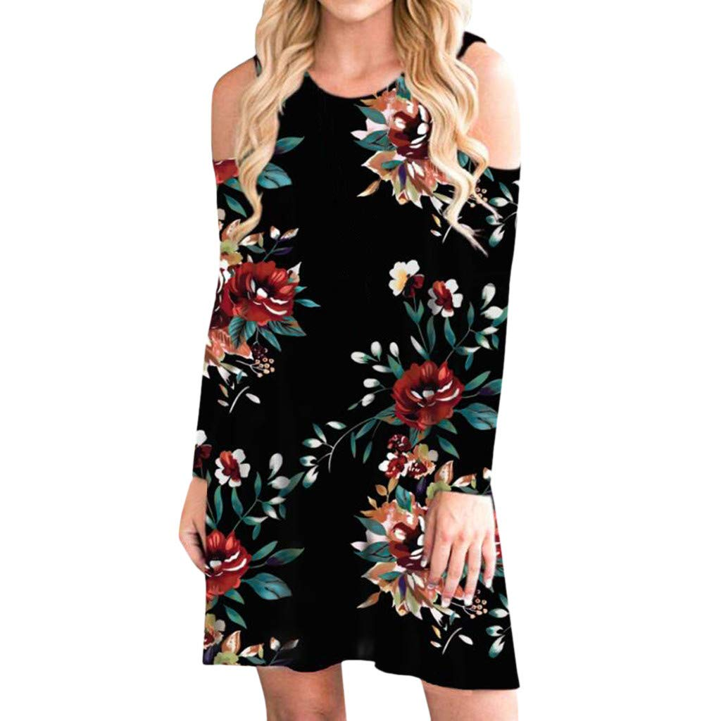 TRENDINAO Women Cold Shoulder Dress Casual Floral Print Long Sleeve Boho Mini Dresses for Special Occasions Black by TRENDINAO