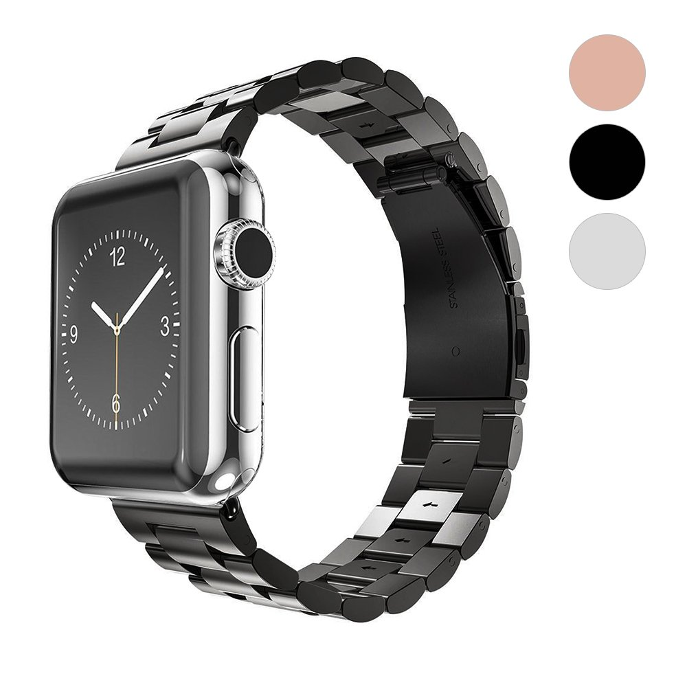 for Apple Watch Band Solid Stainless Steel Metal iWatch Metal Link Bracelet Business Replacement iWatch Strap for Apple Watch Series 3 Series 2 Series 1 Sport and Edition (Black, 38mm)