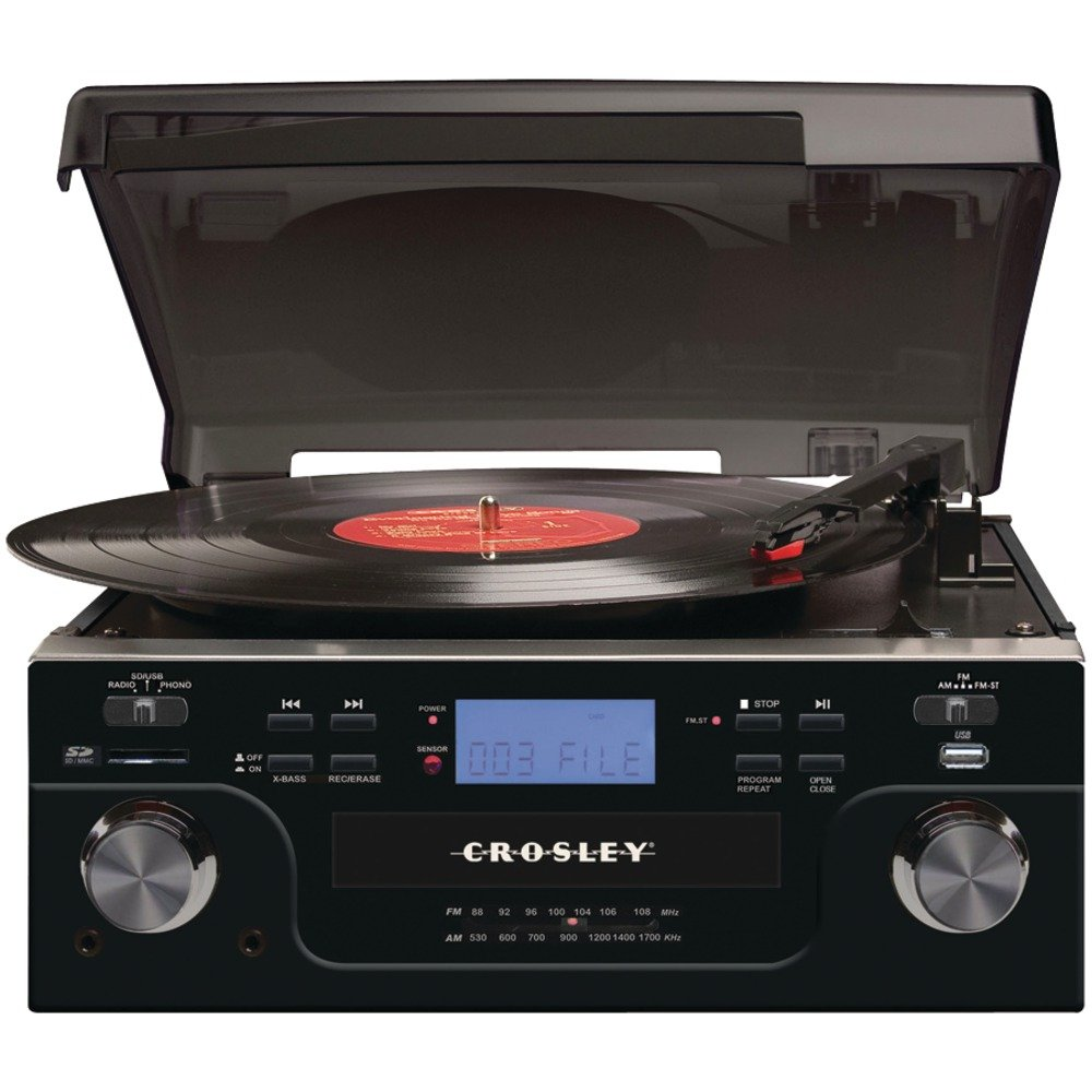 Amazon.com: Crosley CR6008A BK Tech Turntable With CD Player And USB/SD  Card Reader To Transfer Albums To Memory Card (Black): Home Audio U0026 Theater