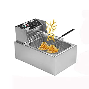 Belovedkai Electric Deep Fryer, 13L/26L Stainless Steel Commercial Electric Deep Fat Fryer Temperature Control Timing Fryer with Drain & Basket,Single Tank/Dual Tank (10L Single Basket)