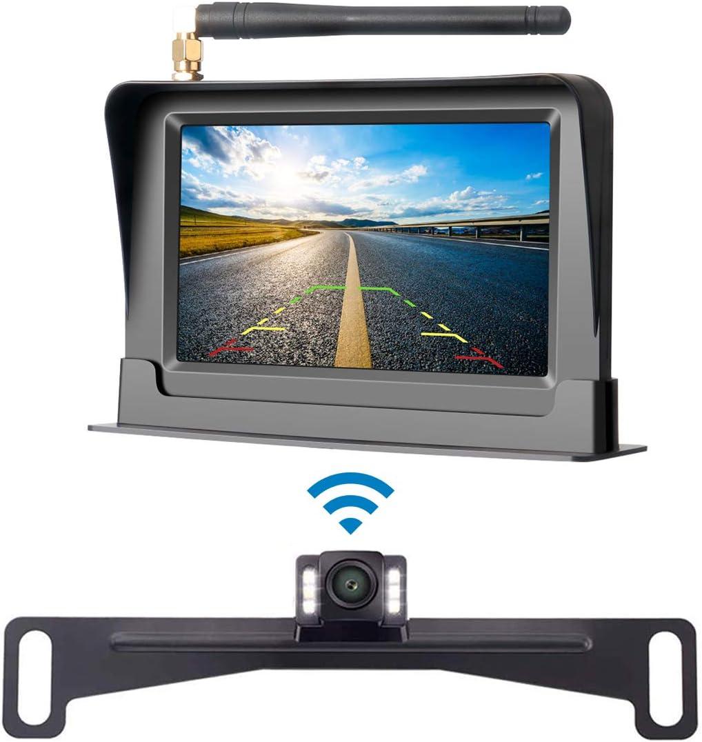 Aceeken Wireless Backup Camera for Cars,Trucks,Pickups,SUV,ATV,UTV Driving Backup Use,4.3 LCD Screen HD Rear Front View Camera Kit IP69 Waterproof Reverse Cam Super Night Vision DIY Backup Guidelines
