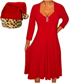 product image for Funfash Plus Size Women Red Holiday Season Christmas Leopard Santa Hat Dress