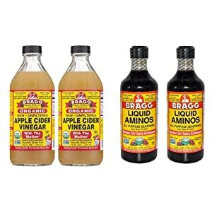 Bragg Organic Apple Cider Vinegar 16 Ounce, 2 Pack and Liquid Aminos 16 Ounce, 2 Pack Bundle