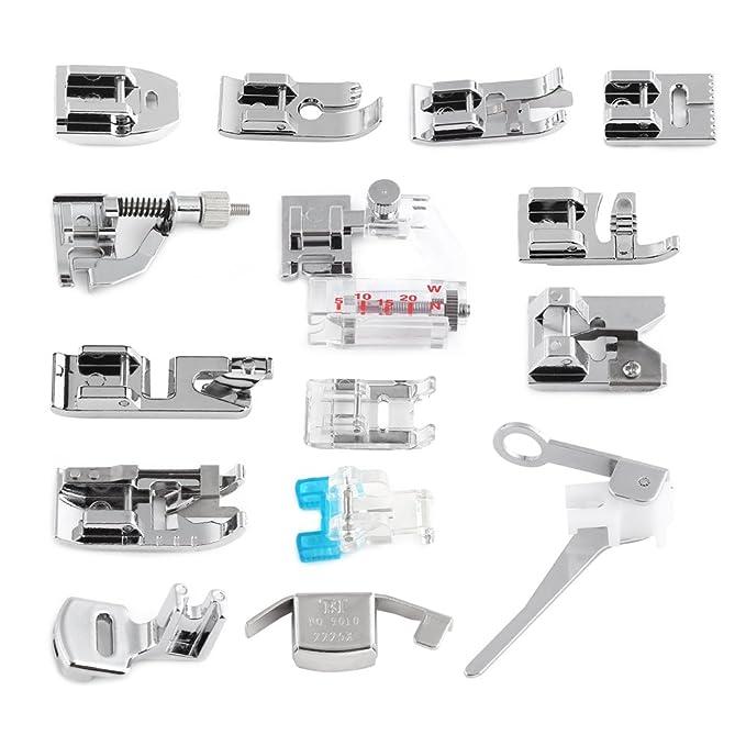 Pie de Prensatelas Universal Presser Feet Kit de Prensatelas de Máquina de Coser para Máquina de Coser Multifuncional 15pcs: Amazon.es: Hogar